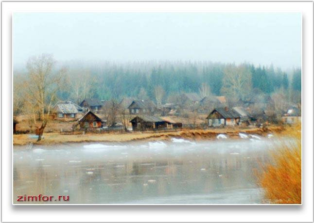 Фотография деревни, сделанная под старину. Монокль