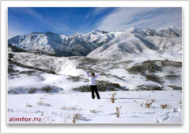 Зимний горный пейзаж снятый при закрытой диафрагме