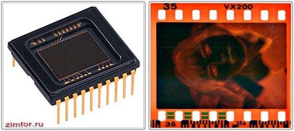 Матрица цифрового фотоаппарата и кадр фотоплёнки