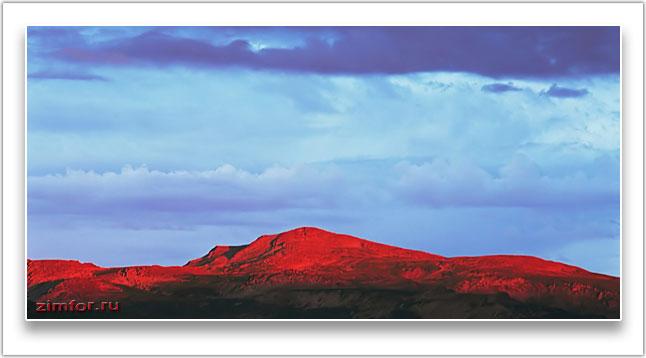Закат в горах. Фронтальное освещение