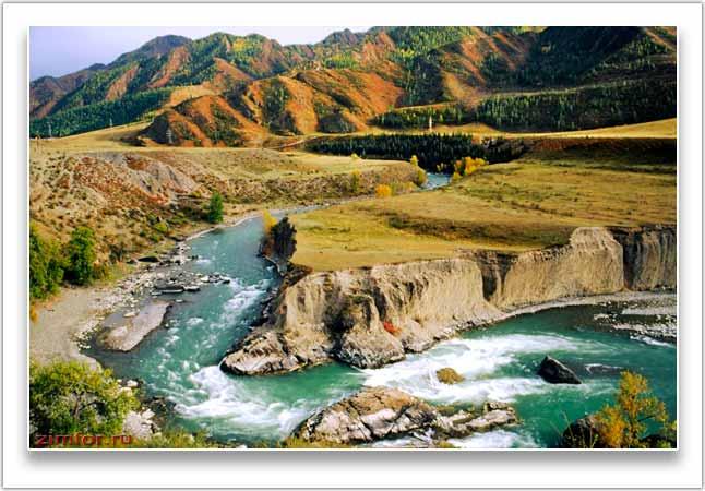 Река Катунь осенью