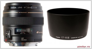 Портретник Canon EF 85 mm 1.8 и его бленда