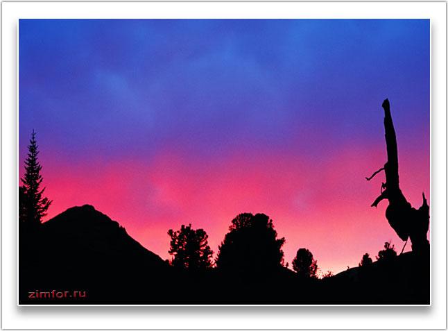 Закат в горах. Контровое освещение
