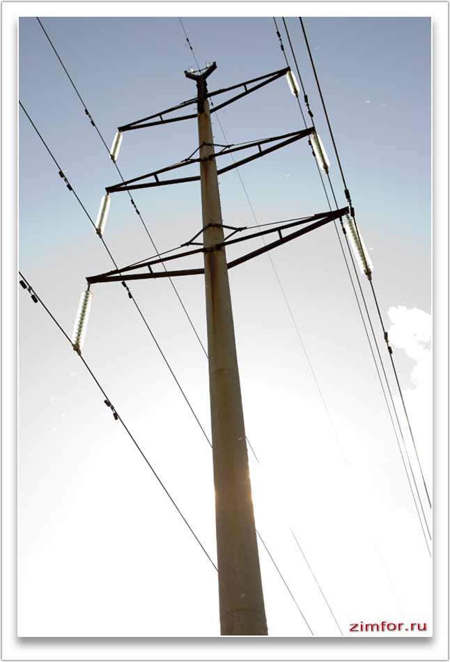 Высоковольтный столб. Линия электропередач
